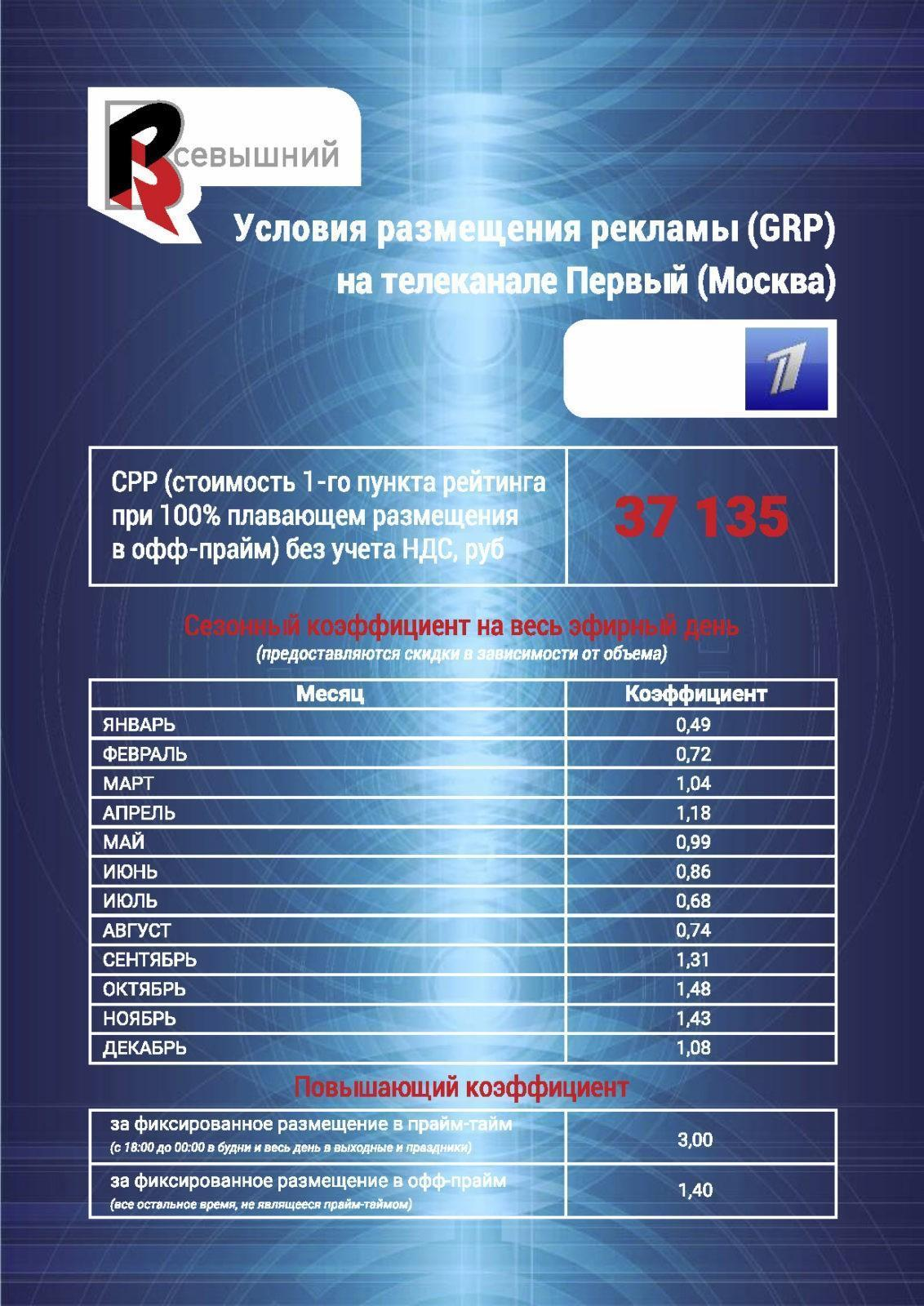 Реклама на Первом канале