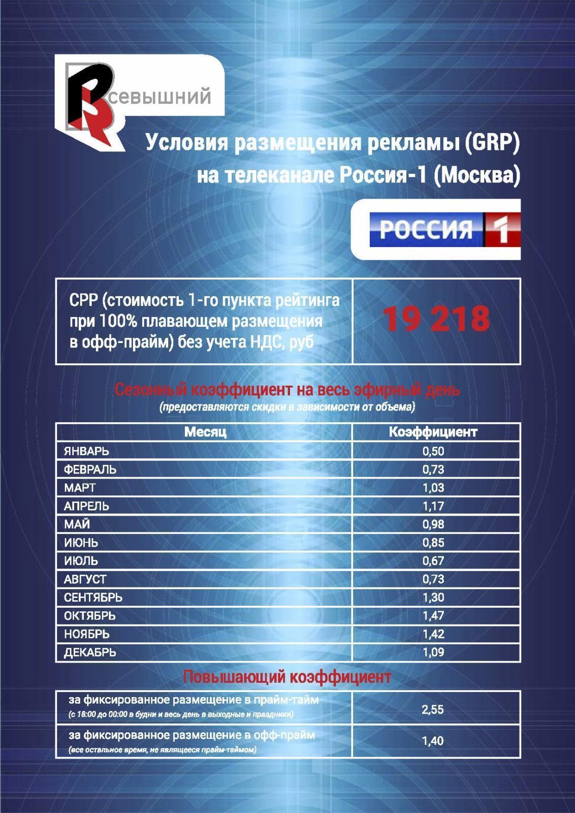 Реклама на канале Россия 1