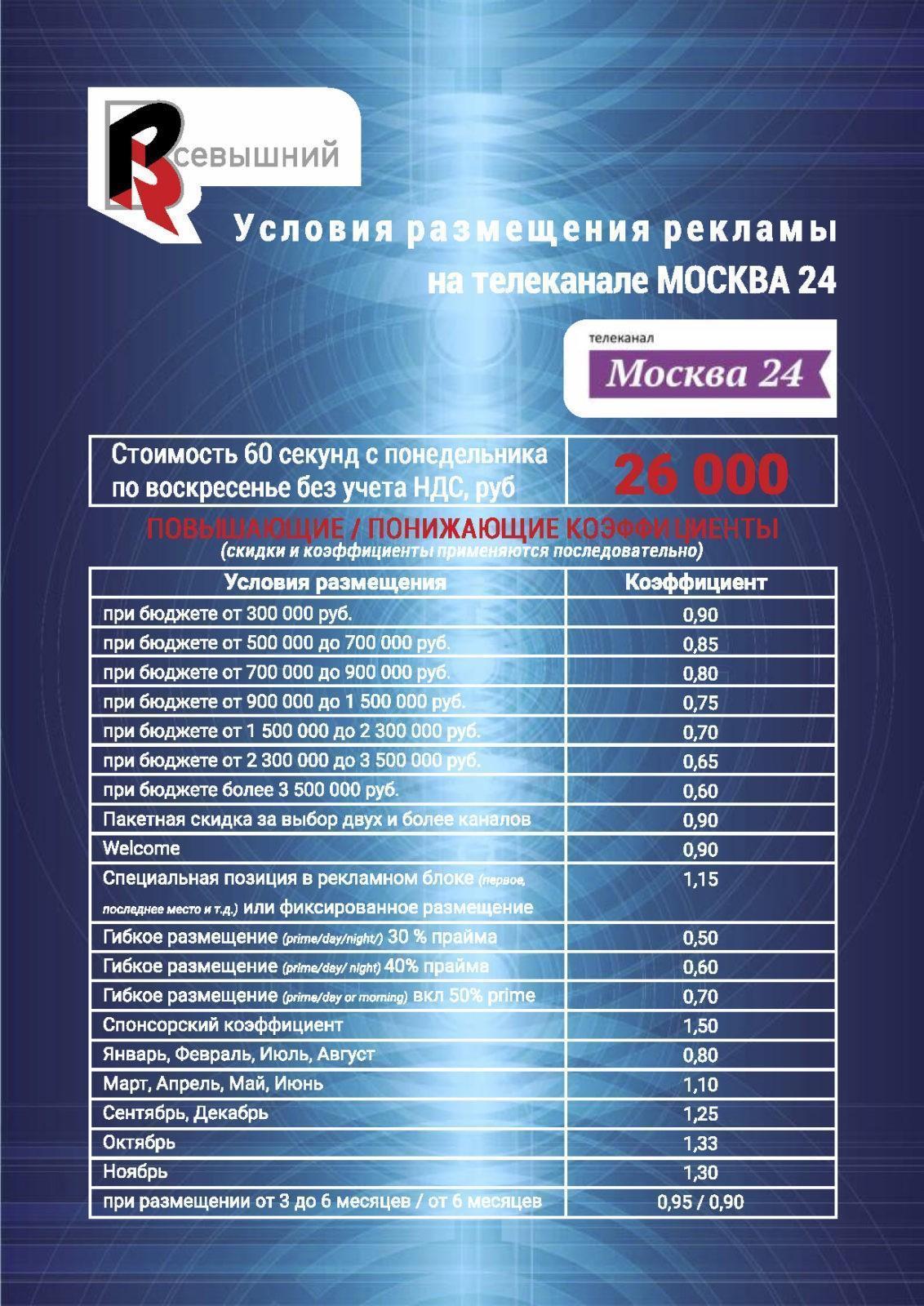 Реклама на телеканале Москва 24